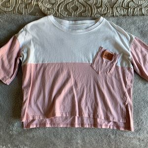 Pink and White Cropped Tee